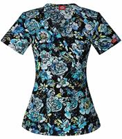 Dickies Women's Mock Wrap Print Scrub Top-85988