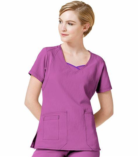 Wonderwink Four-Stretch Women's Solid Fashion Scrub Top-6614