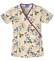 Scrub H.Q. Women's Mock Wrap Clover Print Scrub Top-4826