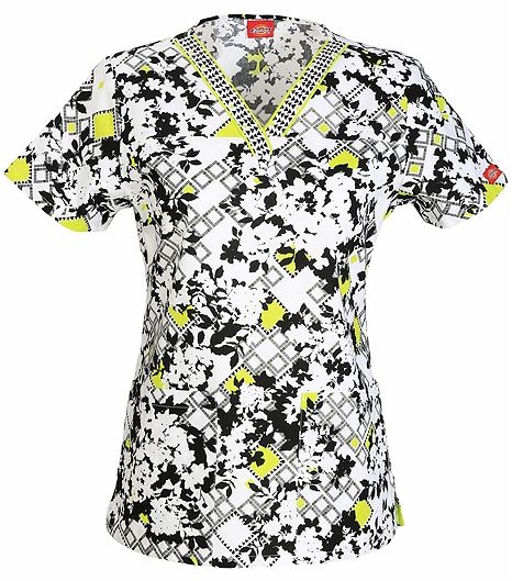 Dickies EDS Women's  V-Neck Printed Scrub Top-84724CB
