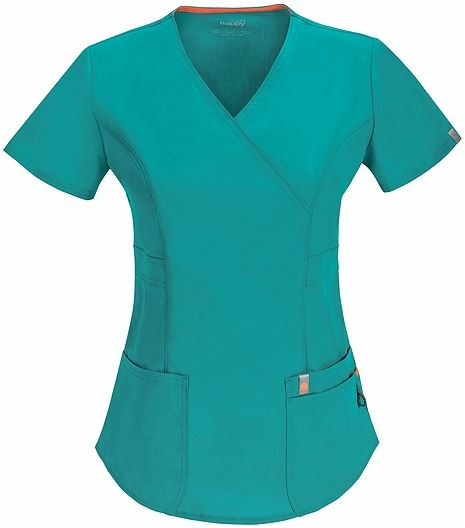 Code Happy Women's Mock Wrap Solid Scrub Top-46601AB
