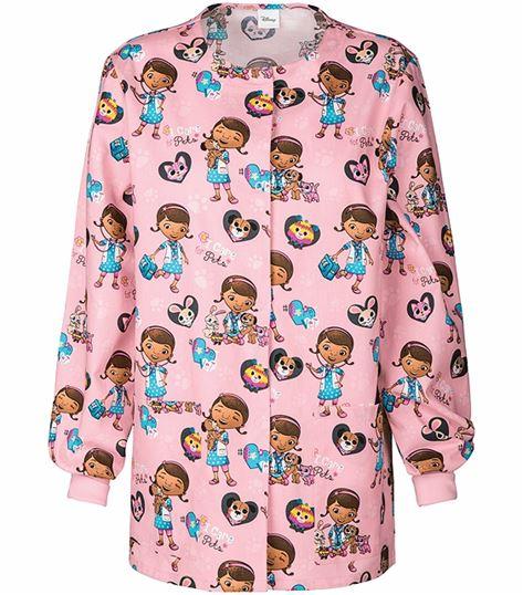 Cherokee Tooniforms Women's Disney Print Warm-Up Scrub Jacket-6350C