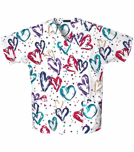Cherokee Women's V-Neck Heart Print Scrub Top- 759