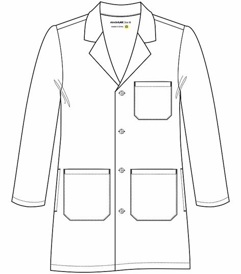 WonderWink Men's White Lab Coat With Knot Buttons-7808