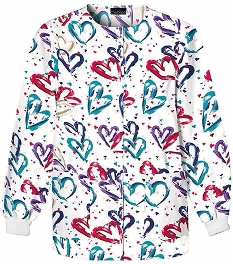Cherokee Women's Snap Front Print Warm-Up Scrub Jacket-350