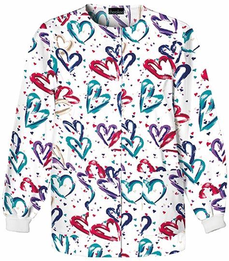 Cherokee Women's Snap Front Print Warm-Up Scrub Jacket-350
