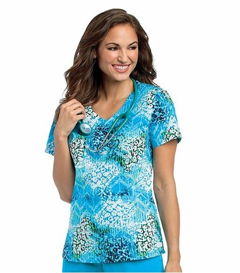 Landau Women's Printed V-Neck Tunic Scrub Top-4131