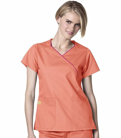 WonderWink Origins Women's Hotel Mock Wrap Scrub Top-6066