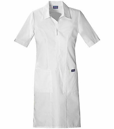 Cherokee WorkWear White Zip Front Nurse Uniform Dress-4501