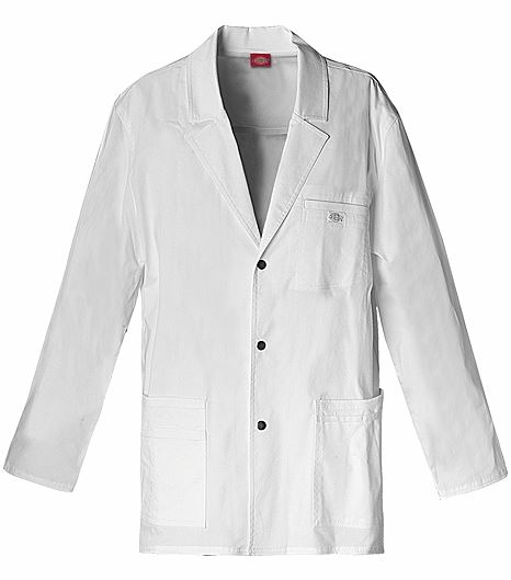 "Dickies GenFlex Men's 31"" Snap Front White Lab Coat-81403"