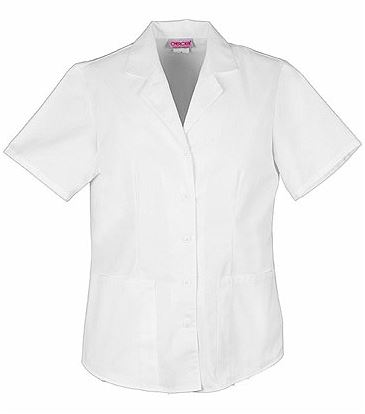 Cherokee Women's Button Front Collared White Scrub Top-2878