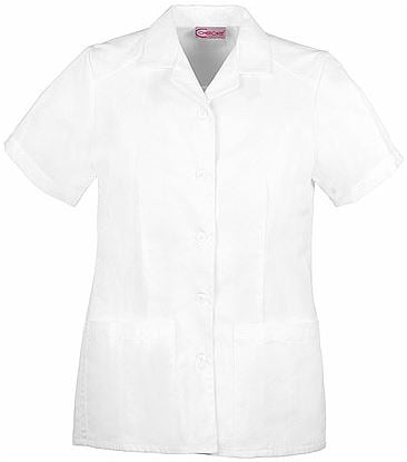 Cherokee Women's Button Up Collared White Scrub Top-2880
