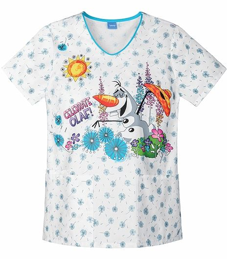 "Cherokee Tooniforms Women's V-Neck ""Frozen"" Scrub Top-6899CB"