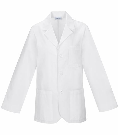 "Med-Man Men's 31"" White Antimicrobial Consultation Coat-1389A"