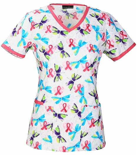 Cherokee Women's Breast Cancer Awareness V-Neck Scrub Top-2687C