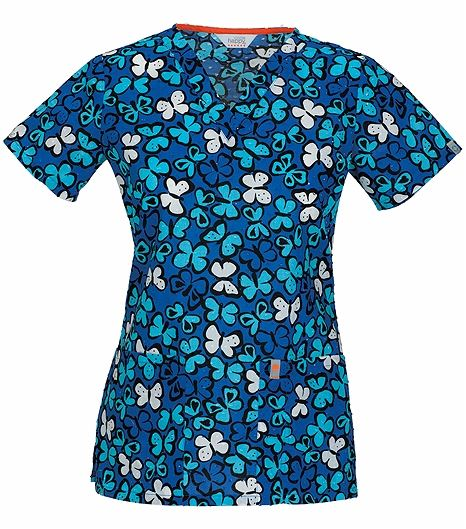 Code Happy Women's V-Neck Butterfly Print Scrub Top-46618A