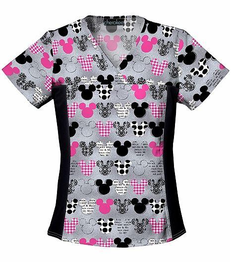 Cherokee Tooniforms Women's V-Neck Mickey Mouse Scrub Top-6875C