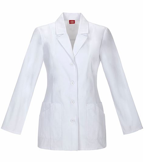 "Dickies EDS Women's 29"" White Lab Coat With Back Belt-84405"