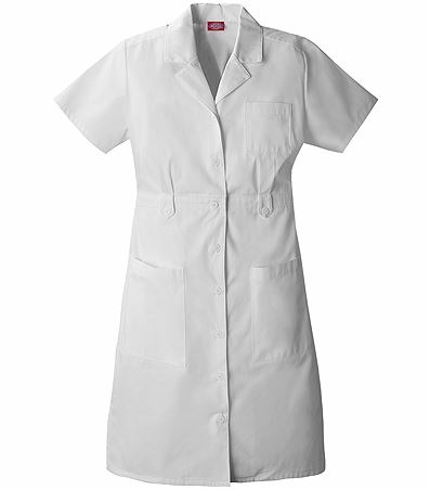 Dickies EDS Women's White Short Sleeves Nurse Scrub Dress-84500