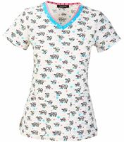 HeartSoul Women's V-Neck Print Scrub Top-HS605XB3