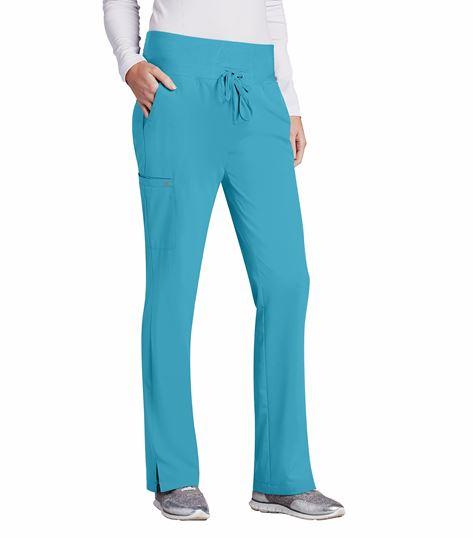 Barco One Women's Knit Waist Drawstring Cargo Scrub Pants-5206