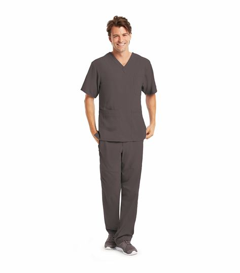 KD110 Men's 7 Pocket Criss-Cross V-Neck Scrub Top-0109