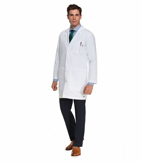 "Grey's Anatomy Men's 37"" 5 Pocket White Lab Coat-0914"