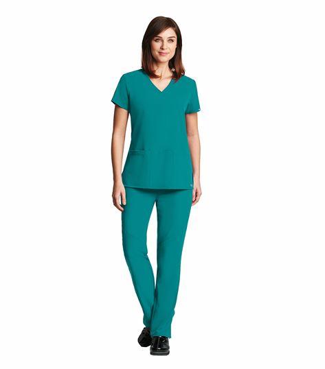 Grey's Anatomy Women's Criss-Cross V-Neck Solid Stretch Scrub Top-2115