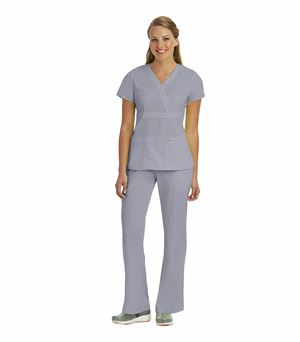 Grey's Anatomy Women's Mock Wrap Empire Waist Scrub Top-4153