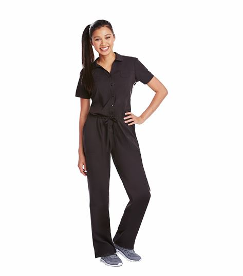 KD110 Women's Short Sleeve Drawstring Jumpsuit Scrubs-8204