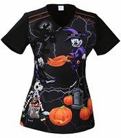 Tooniforms Disney Halloween Women's V-Neck Scrub Top-TF608XB6