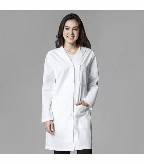 WonderWink Women's Button Front Long White Lab Coat-7402