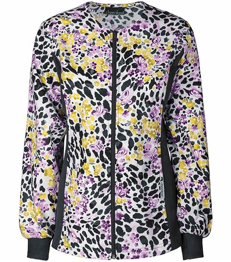 Cherokee Flexibles Women's Zip Up Printed Scrub Jacket-2315C