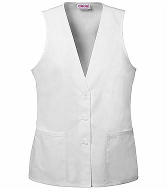 Cherokee Women's Lace Trimmed White Scrub Vest-2610
