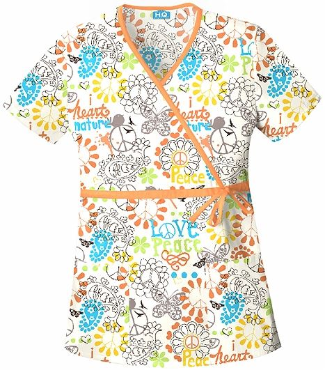 Scrub H.Q. Women's Peace, Love & Paisley Mock Wrap Scrub Top-4788