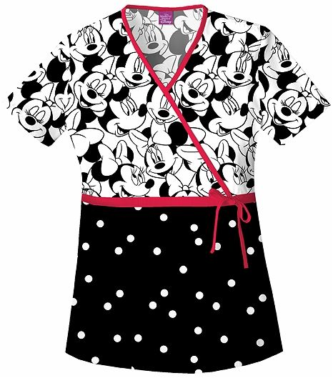 Cherokee Tooniforms Women's Minnie Mouse Scrub Top-6625C