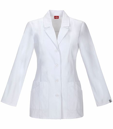 """Dickies EDS Women's 29"""" White Antimicrobial Lab Coat 84405A"""