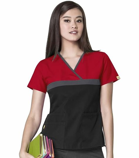 WonderWink Origins Women's Mock Wrap Tri-Color Scrub Top-6026C