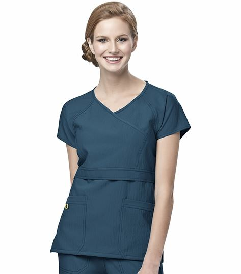 WonderWink Four-Stretch Women's Raglan Mock Wrap Scrub Top-6314