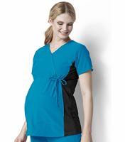 WonderWink Four-Stretch Maternity Stretch Mock Wrap Scrub Top-6445