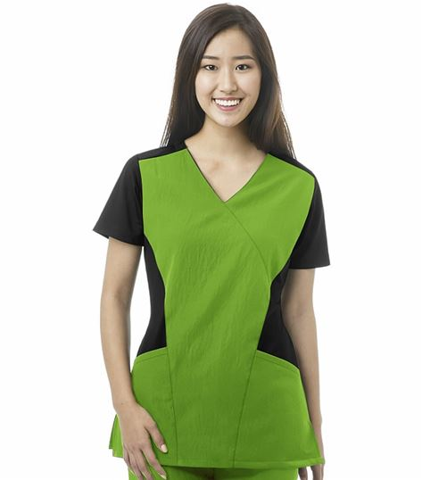 Wonderwink Four-Stretch Women's Sport Mock Wrap Solid Scrub Top-6714