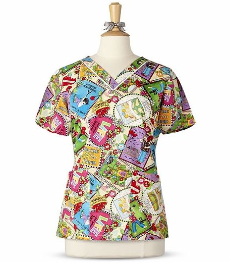 Mary Engelbreit Women's Printed V-Neck Scrub Top-M3007