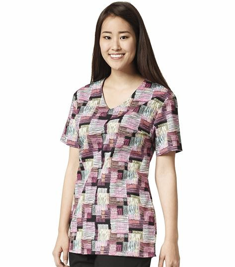 Wonderwink Zoe+Chloe Women's Printed V-Neck Scrub Top-Z13202