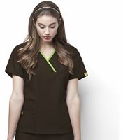 WonderWink Origins Women's 5 Pocket Mock Wrap Solid Scrub Top-6026