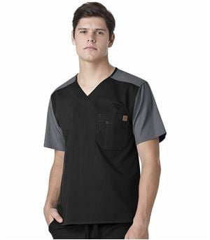 Carhartt Men's Ripstop Color Block Scrub Top-C14108 (Black - Large)