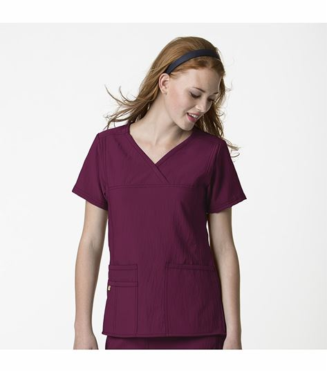 WonderWink Four-Stretch Women's Solid Mock Wrap Scrub Top-6414