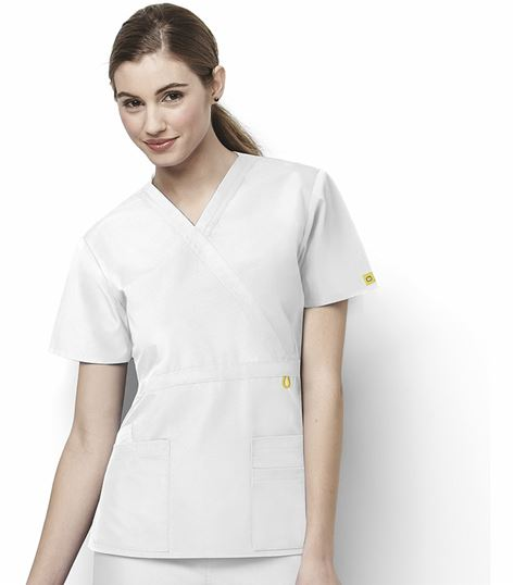 WonderWink Origins Women's Mock Wrap Empire Waist Scrub Top-6056