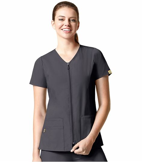 Wonderwink Origins Women's Short Sleeve Zip Up Scrub Jacket-6086
