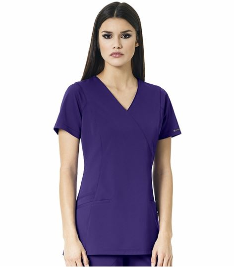 WonderWink HP Women's  Mock Wrap Solid Scrub Top-6312