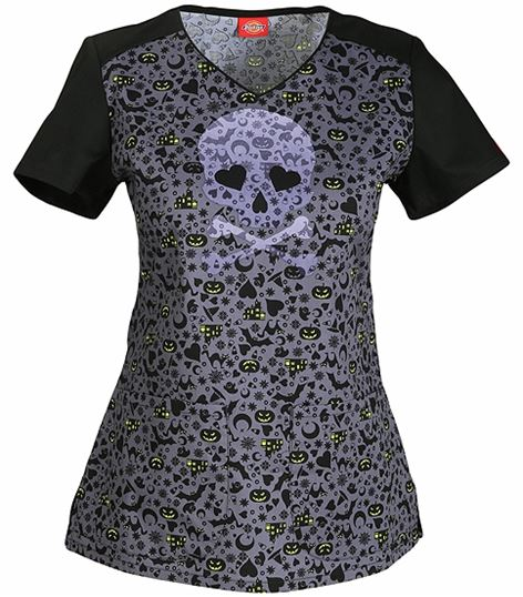 Dickies GenFlex Women's Halloween V-Neck Scrub Top-85940B